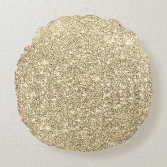 Chispa del brillo del oro falsa cojín redondo
