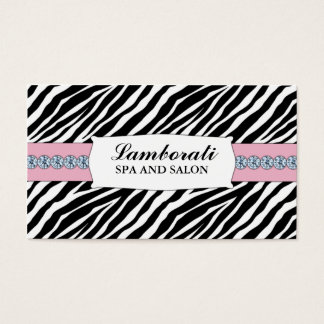 Chispa del diamante del estampado de zebra de la tarjeta de negocios