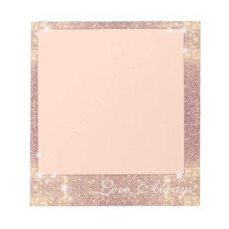 Chispa subió brillo rosado del oro falsa bloc de notas