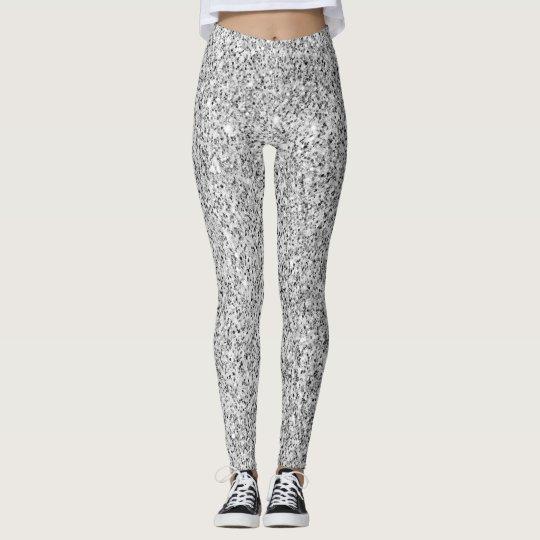 Chispas de plata hermosas del brillo leggings