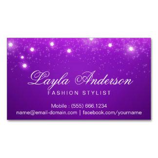 Chispas estrelladas atractivas púrpuras violetas tarjeta de visita magnética