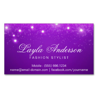 Chispas estrelladas atractivas púrpuras violetas tarjetas de visita magnéticas (paquete de 25)