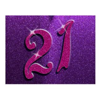 Chispea la 21ra postal rosada y púrpura del cumple