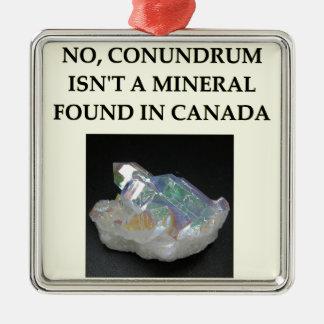 chiste de la geología adorno navideño cuadrado de metal