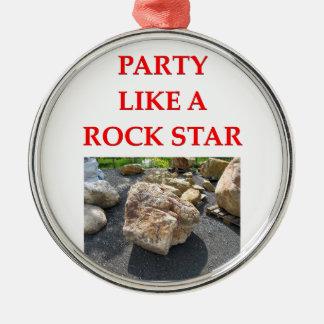 chiste de la geología adorno navideño redondo de metal