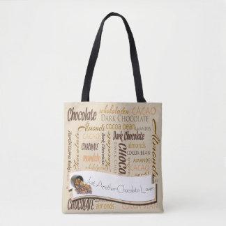 Chocolate, almendras y diseño oscuro del texto del bolso de tela