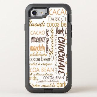 Chocolate, almendras y nube oscura de la palabra funda OtterBox defender para iPhone 8/7