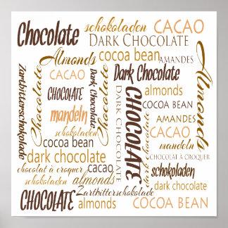 Chocolate, almendras y nube oscura de la palabra póster