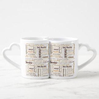 Chocolate, almendras y nube oscura de la palabra set de tazas de café