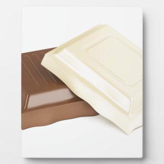 Chocolate blanco y marrón placa expositora