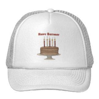 Chocolate de la torta del feliz cumpleaños gorros