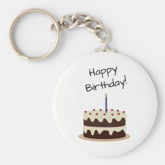 Chocolate del feliz cumpleaños y torta de la llavero