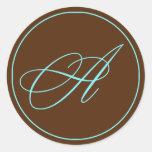 Chocolate del sello del sobre y boda azul del mono etiqueta redonda