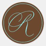 Chocolate del sello del sobre y boda azul del etiquetas redondas