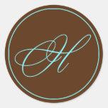 Chocolate del sello del sobre y boda azul del pegatinas redondas