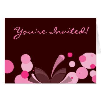 Chocolate e invitación rosada tarjeta pequeña