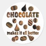Chocolate Pegatinas Redondas