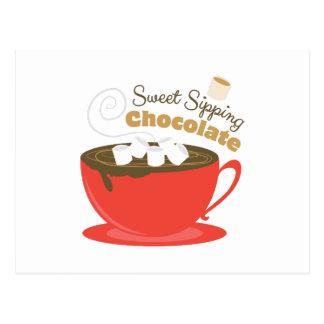 Chocolate que sorbe postal