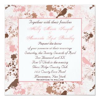 Chocolate y boda lesbiano floral del rosa invitación 13,3 cm x 13,3cm