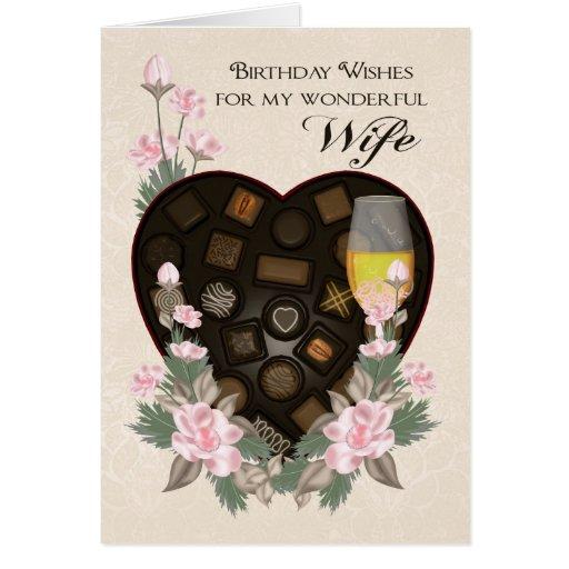 Chocolates vino de la esposa y saludo del cumpleañ tarjeton