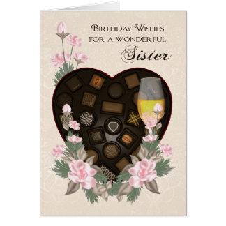 Chocolates vino de la hermana y cumpleaños de la tarjeta de felicitación