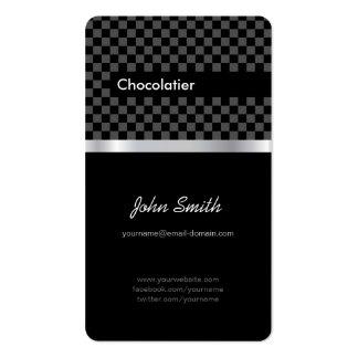 Chocolatier - a cuadros negro elegante tarjeta de visita