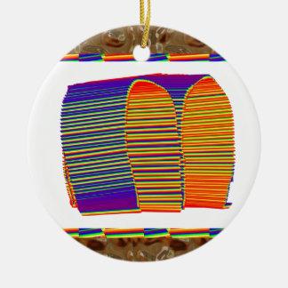 CHOZA de bambú pintada de la estera de la paja Adornos De Navidad