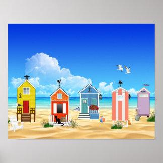 Chozas tropicales de la arena de la playa póster