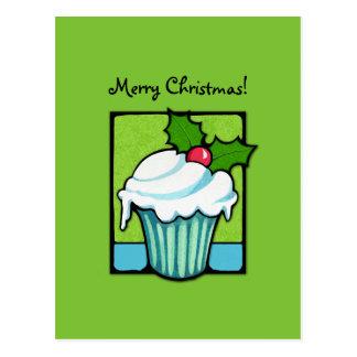 Christmas Holly Cupcake green Postcard