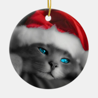 Christmas of cat - adorno navideño redondo de cerámica