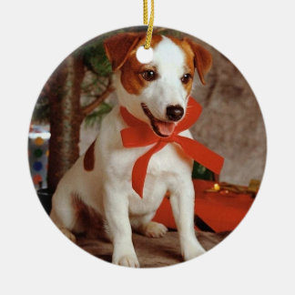 Christmas of dog - adorno navideño redondo de cerámica