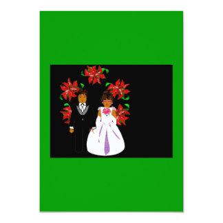 Christmas Wedding Couple With Wreath Green Purple Custom Invitations