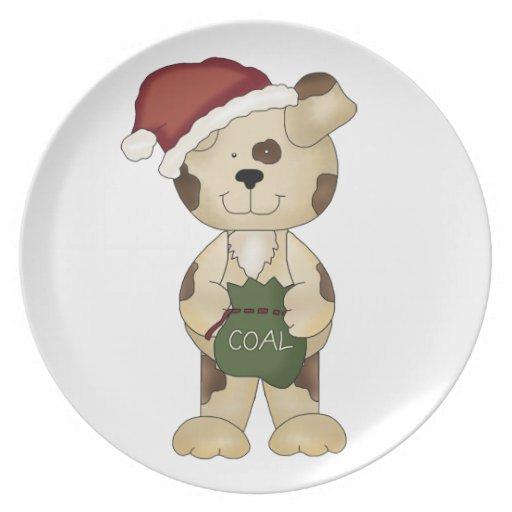 Chucho-Perro del navidad en el gorra de Santa Platos De Comidas
