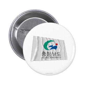 Chungchongnam-hace la bandera que agita chapa redonda 5 cm