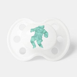Chupete Astronauta que flota en el dibujo del espacio