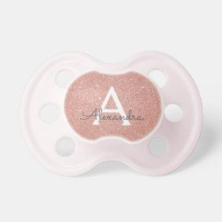 Chupete Bebé color de rosa rosado del monograma del
