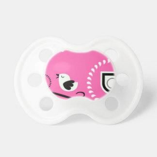Chupete Bebé rosado Paci de Paisley con diseño del pájaro