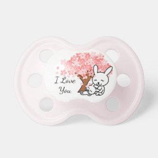 Chupete Conejito de la mamá y del bebé, te amo,