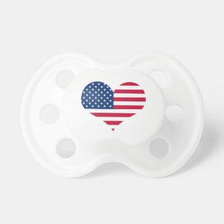 Chupete Corazón americano de los E.E.U.U. de la bandera de