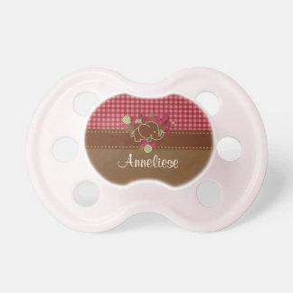 Chupete Elefante del bebé - rosa oscuro, Brown y tela