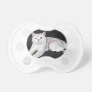 Chupete Gato blanco que miente en fondo negro aislado