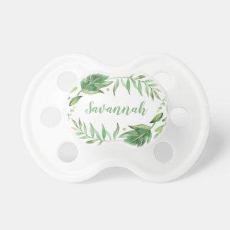 Chupete Las hojas de Boho personalizaron nombre del bebé