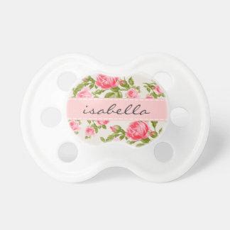 Chupete Monograma floral de los rosas femeninos del