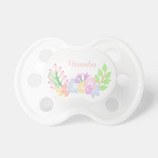 Chupete Pacificador floral de la niña del monograma