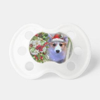 Chupete Perrito del Corgi del navidad en el marco blanco