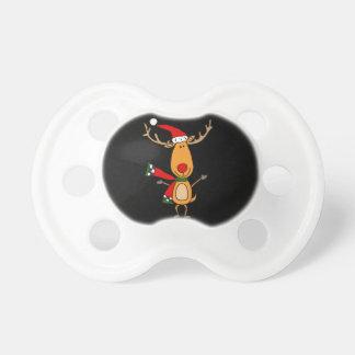 Chupete Reno con la nariz roja lindo divertido de Rudolph