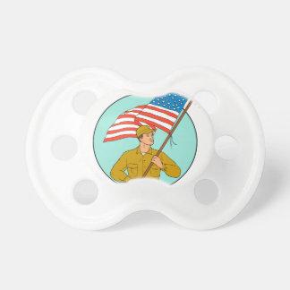 Chupete Soldado americano que agita el dibujo del círculo