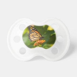 Chupete tetina de bebé fota de una mariposa sobre una flor