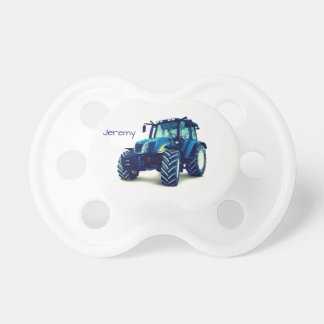 Chupete Tractor de granja azul personalizado