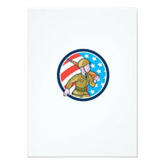 Ci americano del dibujo animado del soldado de la invitación 13,9 x 19,0 cm